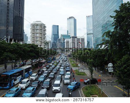 Jakarta, Indonesia - February 1, 2019: Congested Traffic On Sudirman Street.