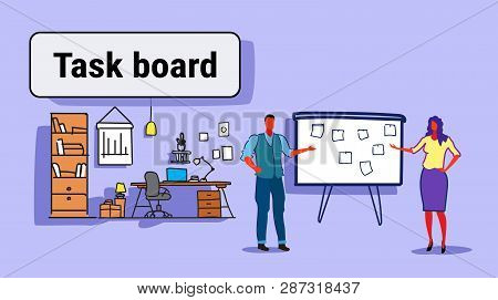 Business Man Woman Couple Planning Weekly Meeting Schedule On Task Board With Stickers Notes To Do L