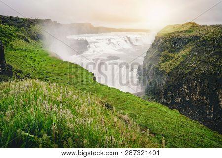 Landscape Of Gullfoss Waterfall In Iceland.