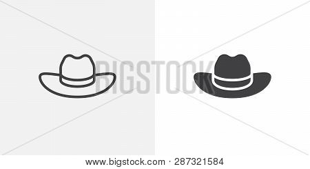 Cowboy Hat Icon. Line And Glyph Version, Outline And Filled Vector Sign. Beach Hat Linear And Full P