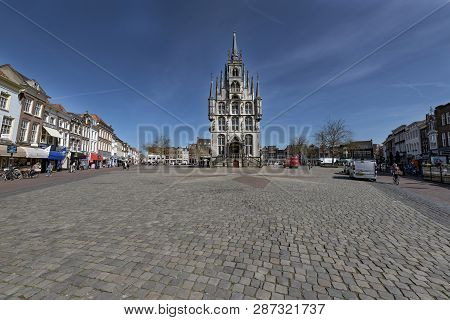 Netherlands; Gouda, 2017, City Center, Showing Its Famous 15th Century Town Hall, The Place Where Go