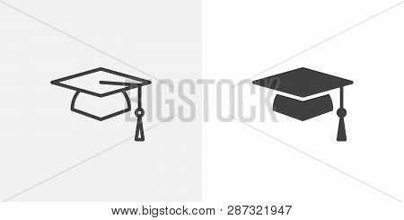 Graduation Cap Icon. Line And Glyph Version, Student Hat Outline And Filled Vector Sign. Academic Ca