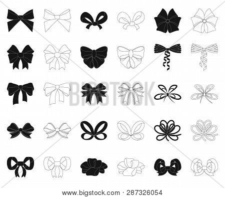 Multicolored Bows Black, Outline Icons In Set Collection For Design.bow For Decoration Vector Symbol