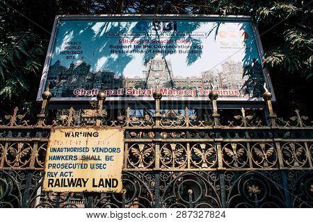 Mumbai India March 2, 2019 View Of Chhatrapati Shivaji Maharaj Terminus Also Called Victoria Railway