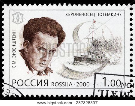 Luga, Russia - February 17, 2019: A Stamp Printed By Russia Shows Sergei Eisenstein - Famous Soviet