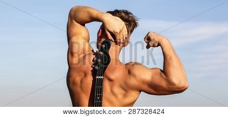 Man Back, Muscular Man, Back Muscles, Strong Back. Sexy Man. Play The Guitar. Electric Guitar. Man W