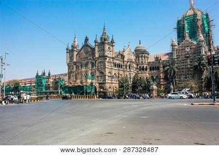 Mumbai India March 2, 2019 View Of Chhatrapati Shivaji Maharaj Terminus Also Called Victoria Train S