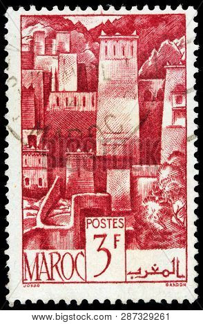 Luga, Russia - February 13, 2019: A Stamp Printed By Morocco Shows View Of Kasbah - Central Part Of
