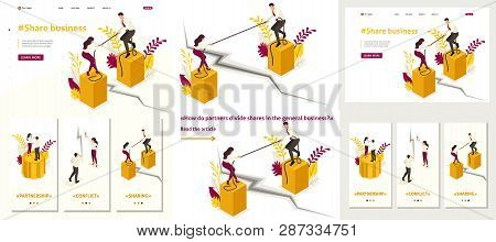 Set Template article, Landing page, app design, Isometric conflict of partners and disagreements in business. poster
