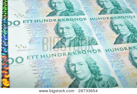 Detail of Sweden currency (crown or krone, SEK) poster