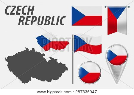 Czech Republic. Collection Symbols In Colors National Flag On Various Objects Isolated On White Back