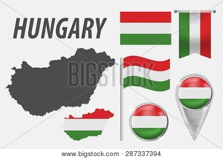 Hungary. Collection Of Symbols In Colors National Flag On Various Objects Isolated On White Backgrou