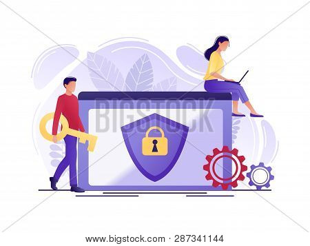 Security - People Protecting Computer Data. Data Protection Concept For Web Page, Banner, Presentati