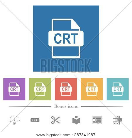Crt File Format Flat White Icons In Square Backgrounds. 6 Bonus Icons Included.