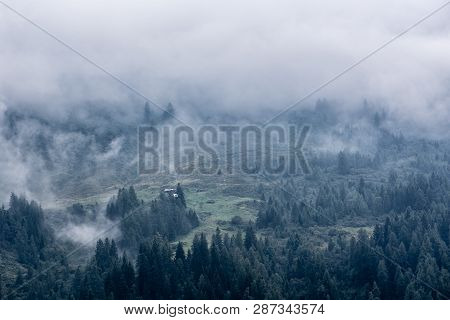 Low Clouds On Mountains, Conifer Forest Covered By Fog And Clouds, Dark Landscape