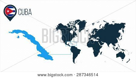 Cuba Map Located On Vector & Photo (Free Trial)   Bigstock