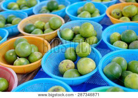 Thai Lime Fruit Green Lemon Closeup Photo
