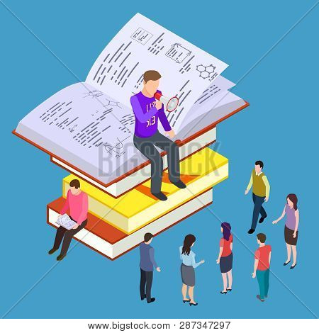 Self Education, Training And Teaching Vector Isometric Concept. Illustration Of Education And Coachi