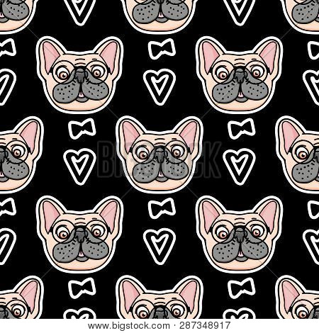 Mister Dog Seamless Pattern. Vector Hand Drawn Illustration Isolated On White Background. Surface De