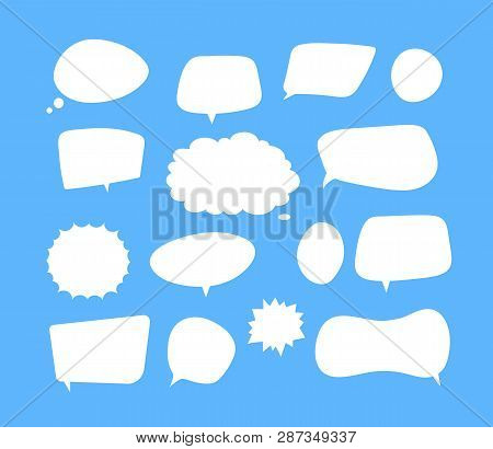 White Speech Bubbles. Thinking Balloon Talks Bubbling Chat Comment Cloud Comic Retro Shouting Voice