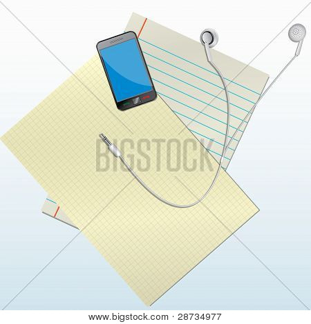 phone with a headset on paper vector illustration