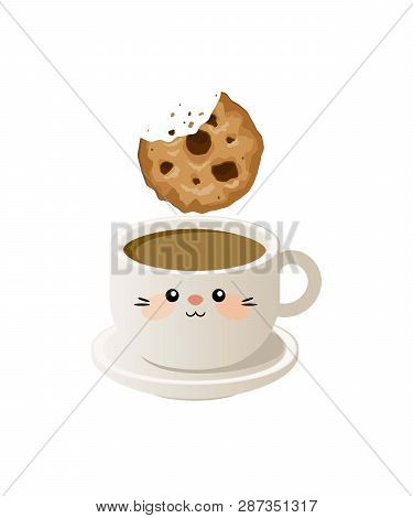 Cup Of Coffee With Cookies. Vector Illustration. Eps 10