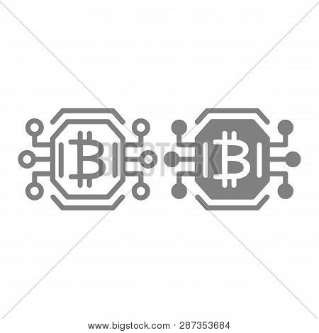 Bitcoin Chip Line And Glyph Icon. Video Card Or Gpu Processor For Farming Bitcoin Vector Illustratio