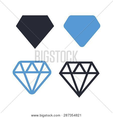 Diamond Icons Set. Diamond Sign Set. Brilliant Vector Icon