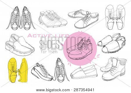 illustration of Set hand drawn graphic Men and women Footwear, shoes. Sport style, gumshoes, moccasins, sneakers, boots, pumps. Doodle, drawing Design isolated object. Active life. poster
