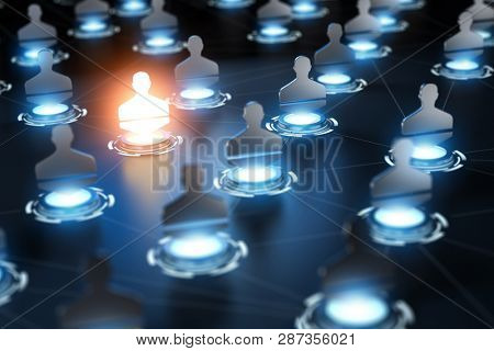 Social network concept. background. Different people conncected by different ways.3d illustration