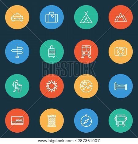 Journey Icons Line Style Set With Planet, Compass, Valise And Other Luggage Elements. Isolated  Illu