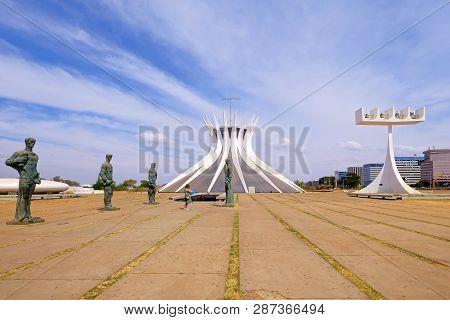 Brasilia, Brazil, August 7, 2018: Cathedral Of Brasilia, Catedral Metropolitana Nossa Senhora Aparec
