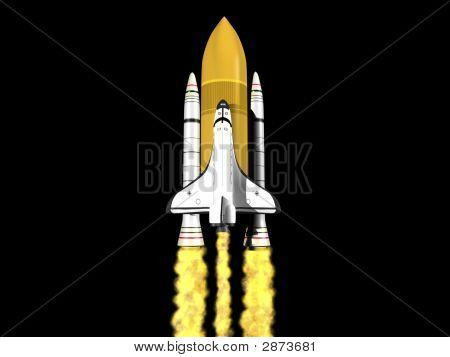 Space shuttle launching on black background with fire poster