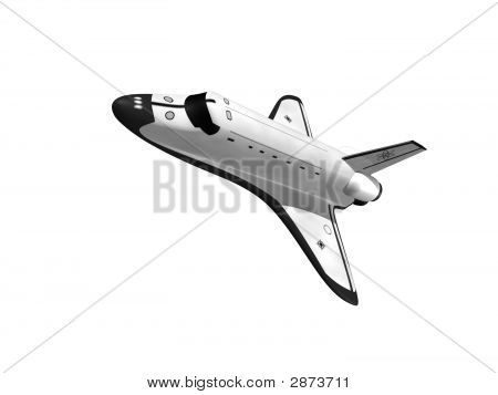 Space Shuttle Flying Left On White