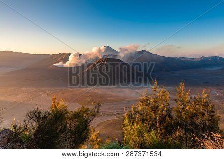 Sunrise View Of The Bromo, Batok And Semeru Volcanoes, Tengger Caldera, East Java, Indonesia