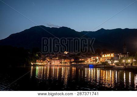 Mergozzo Lake, Harbour In The Night Landscape, Piemonte, Italy