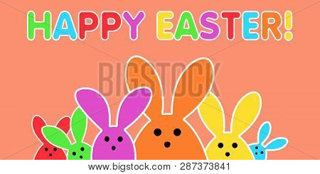 Colorful Easter Bunny As Illustration On Orange Background. Playful Easter Background For The Easter