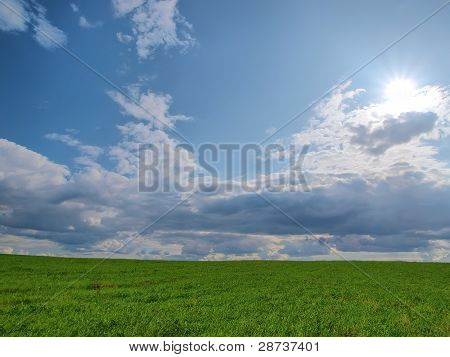 Background. A Green Grass And The Blue Sky With Clouds And The Sun.
