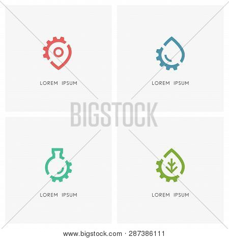 Gear Wheel Logo Set. Address Pointer, Drop Of Water, Test Tube, Green Leaf And Pinion Symbol - Place
