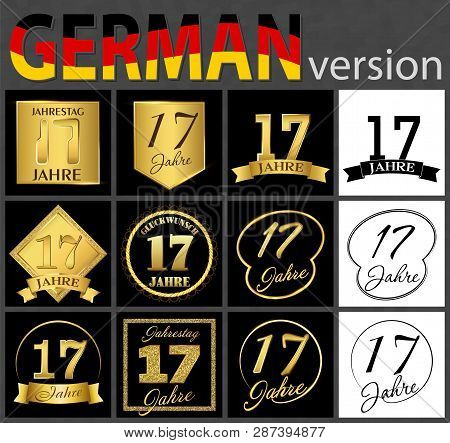 Set Of Number Seventeen Years (17 Years) Celebration Design. Anniversary Golden Number Template Elem