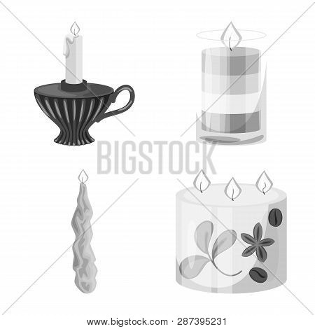 Vector Illustration Of Paraffin And Fire  Logo. Collection Of Paraffin And Decoration    Stock Symbo