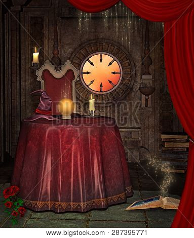 The Fortune Teller Table With Golden Crystal Ball, A Witch Hat And A Candle - 3d Illustration