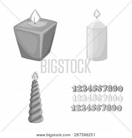 Vector Design Of Paraffin And Fire  Symbol. Collection Of Paraffin And Decoration    Vector Icon For