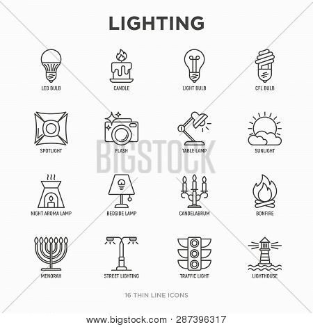 Lighting Thin Line Icons Set: Bulb, Led, Cfl, Candle, Table Lamp, Sunlight, Spotlight, Flash, Candel