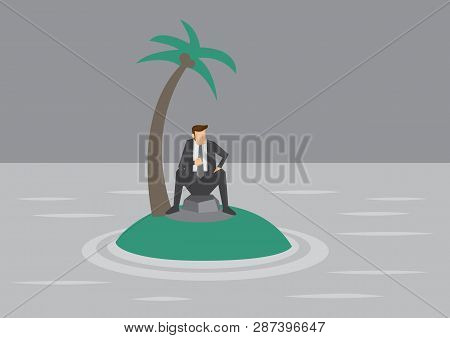 Vector Illustration Of Cartoon Businessman Trapped On A Tiny Tropical Island Surrounded By Water.