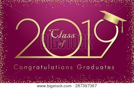 Class Of 20 19 Year Graduation Banner With Glittering Awards Confetti. T-shirt Idea, Embem In Minima