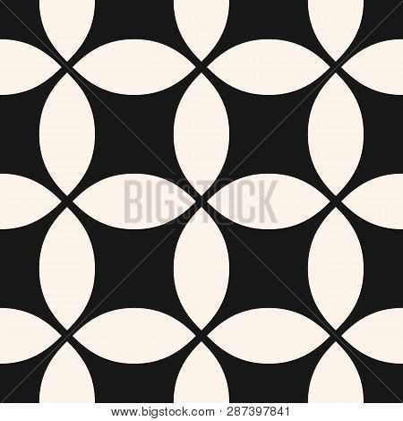 Vector Geometric Seamless Pattern With Grid, Net, Mesh, Lattice, Weave, Big Rounded Shapes, Squares,