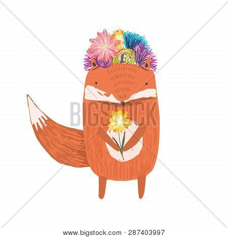 Cute Childish Hand Drawn Orange Fox With Flowers Wreath On A Head And Yellow Flower In Hands, Isolat