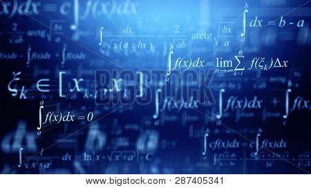 Math concept - Mathematical integral formulas on blue background. 3d rendering
