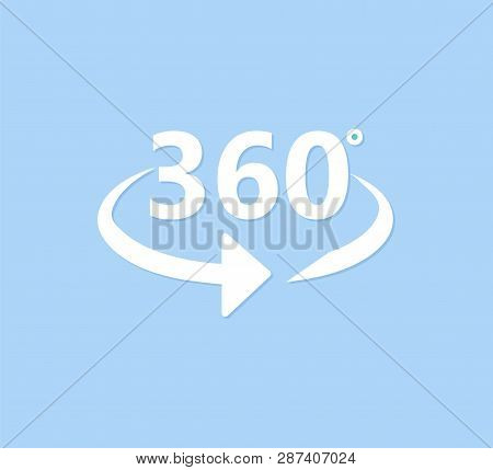 Angle 360 Degrees Icon. 360 Degrees View Sign On Blue Background